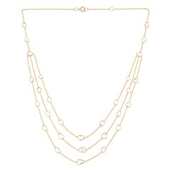 Triple Layer Diamond Slices Necklace, 18k Yellow Gold