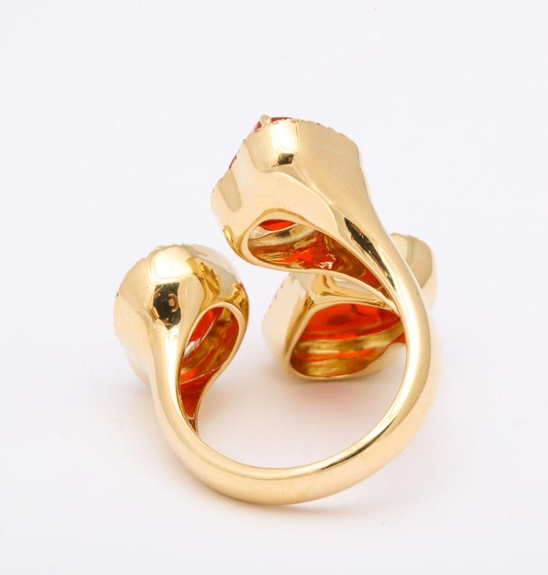 Triple Mexican Fire Opal Diamond Ring For Sale 7