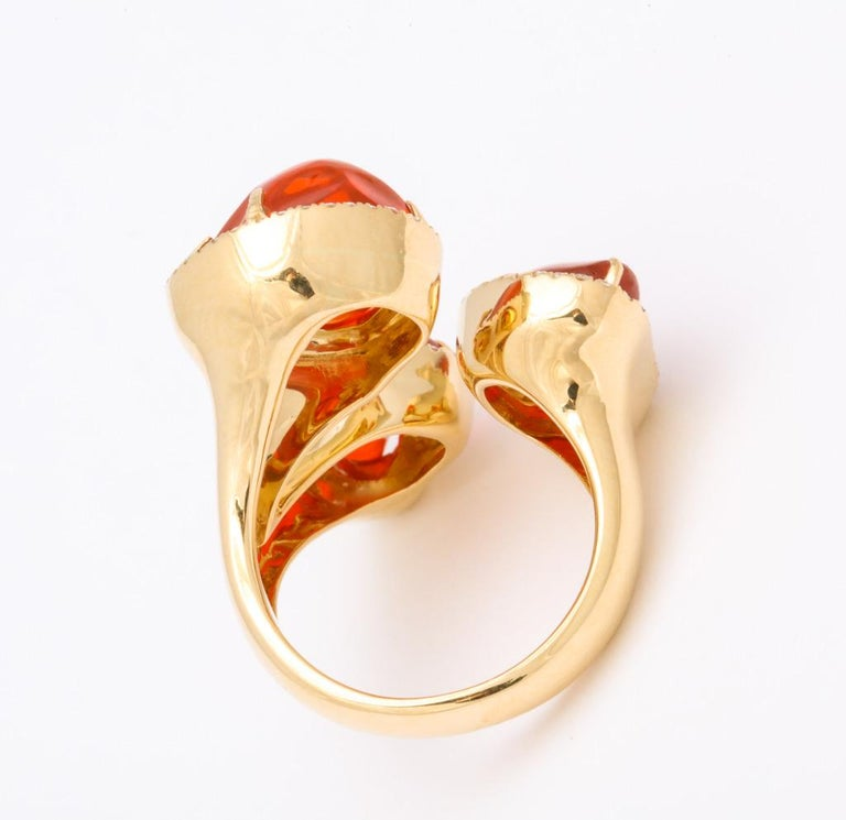 Triple Mexican Fire Opal Diamond Ring For Sale 8