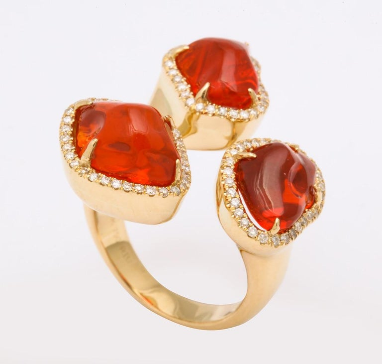 Triple Mexican Fire Opal Diamond Ring In New Condition For Sale In Bal Harbour, FL
