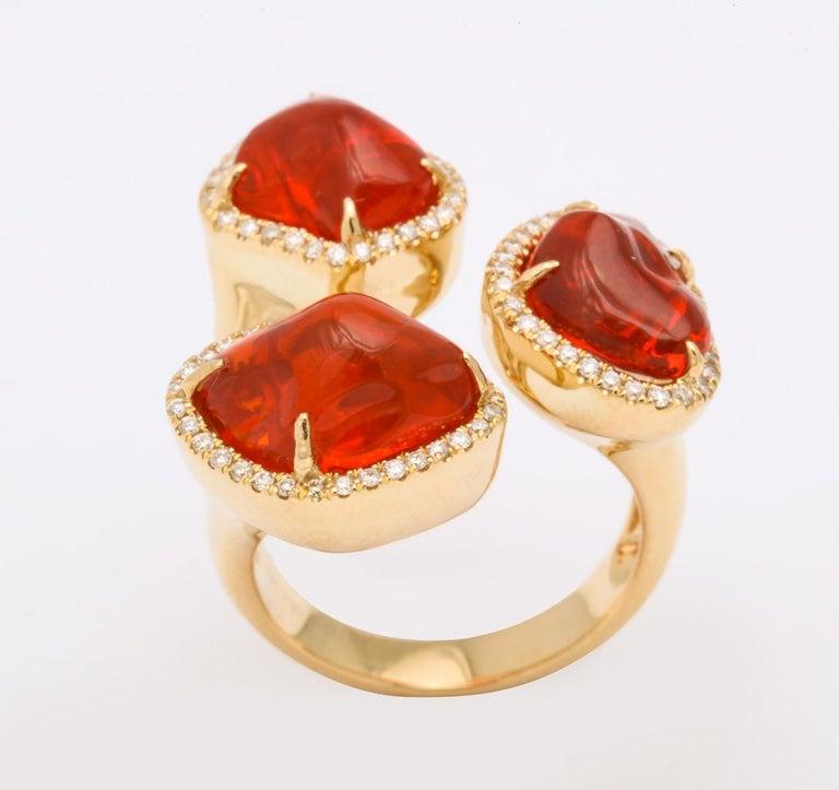 Women's or Men's Triple Mexican Fire Opal Diamond Ring For Sale