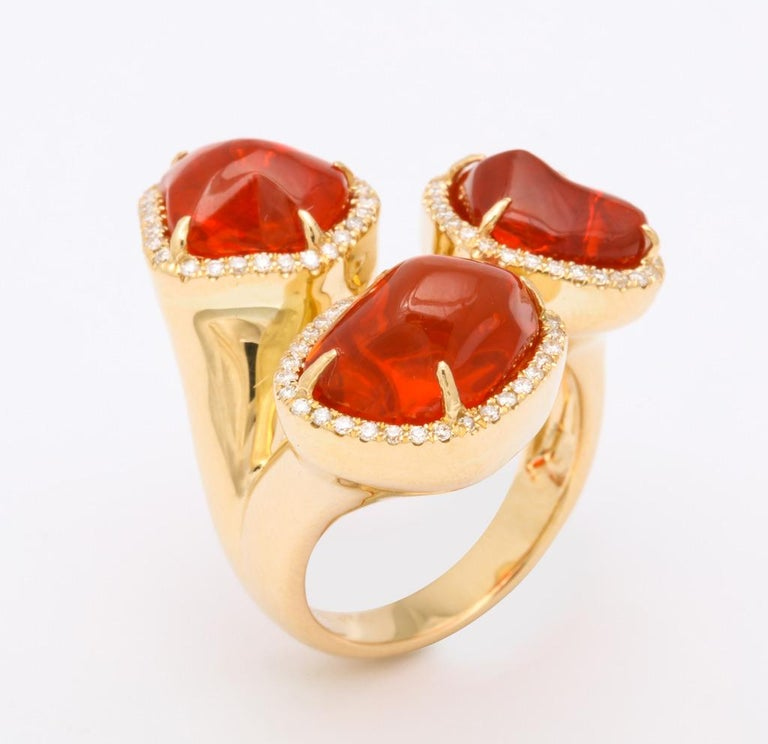 Triple Mexican Fire Opal Diamond Ring For Sale 1