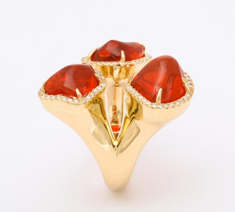 Triple Mexican Fire Opal Diamond Ring For Sale 2