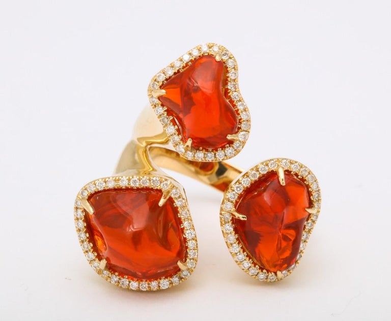 Triple Mexican Fire Opal Diamond Ring For Sale 4