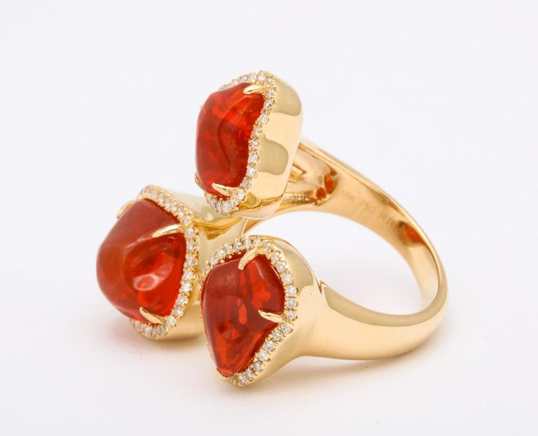 Triple Mexican Fire Opal Diamond Ring For Sale 5