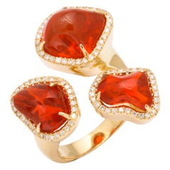 Triple Mexican Fire Opal Diamond Ring