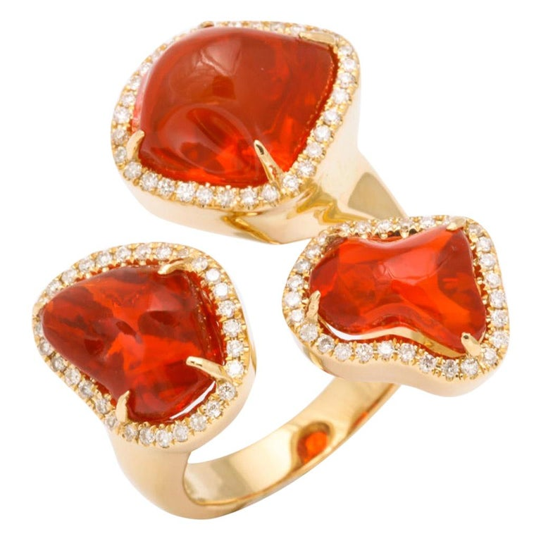 Triple Mexican Fire Opal Diamond Ring For Sale