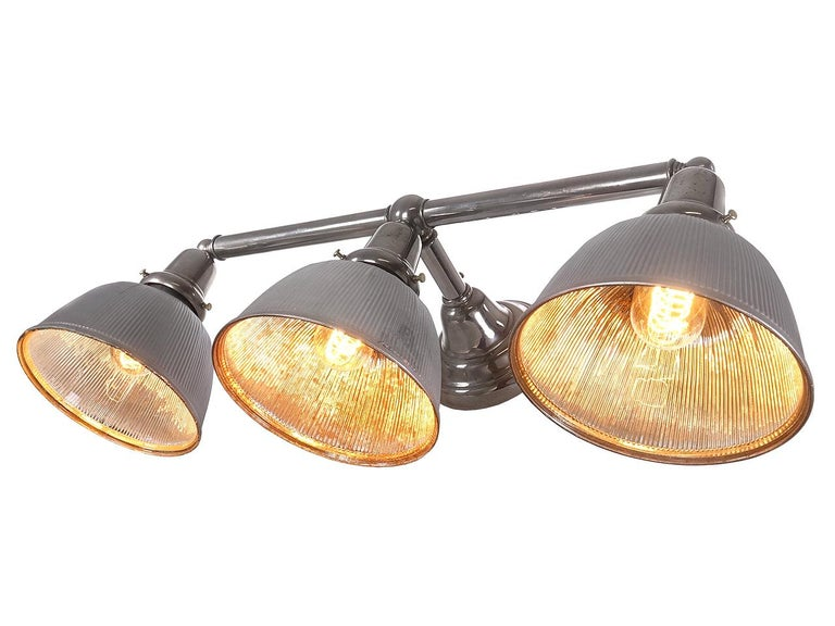 Industrial Triple Mirrored Mercury Glass Wall Light For Sale