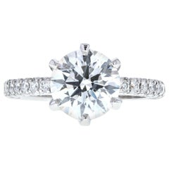 Triple Pave Diamond Engagement Ring with Six Prong Setting