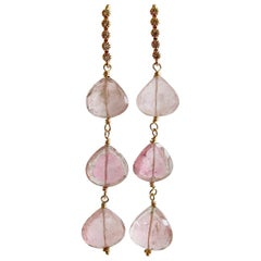 Triple Pink Afghan Tourmaline Cascading Hearts Earrings, Allison II Earrings