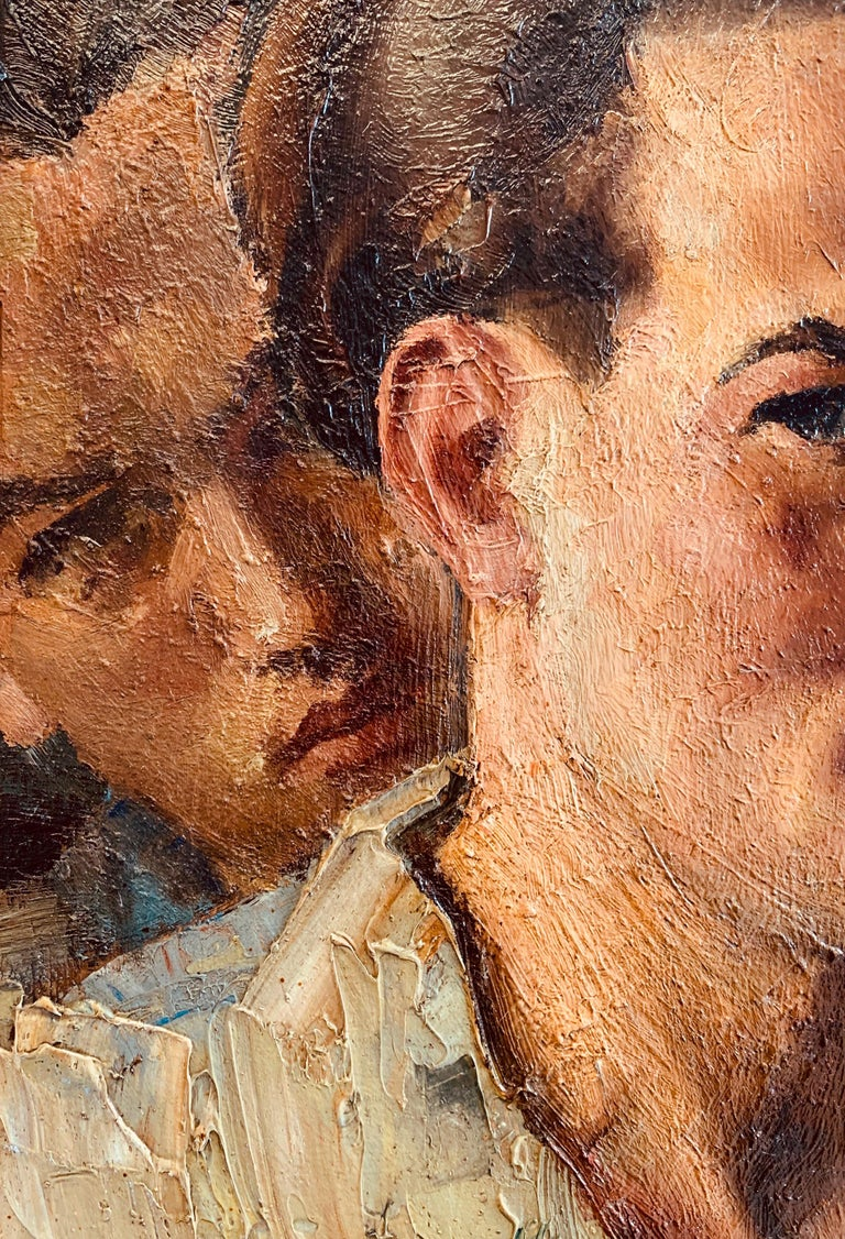 Dated 1936, this striking self-portrait of a young man, seen from three vantage points, is painted with warm colors and a bold impasto technique that makes the faces come alive. The man is wearing an artist smock, and his expressive mouth and wavy