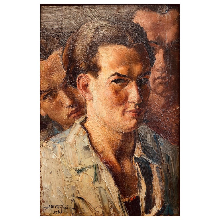 """Triple Portrait,"" Mesmerizing 1930s View of Young Man from Three Sides For Sale"