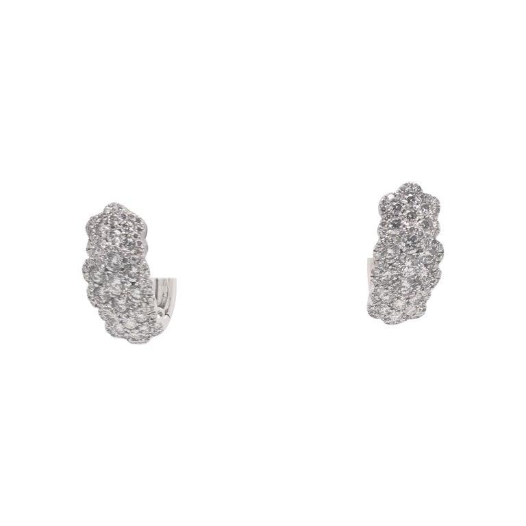 Triple Row Diamond Hoop Earrings 2.35 Carat 18 Karat White Gold For Sale