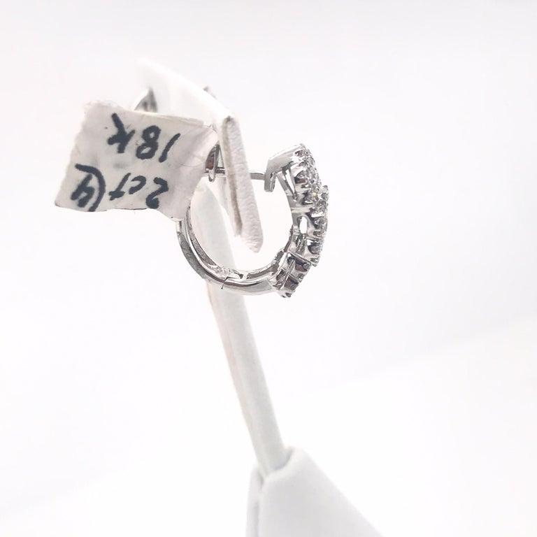 Contemporary Triple Row Diamond Hoop Earrings 2.35 Carat 18 Karat White Gold For Sale