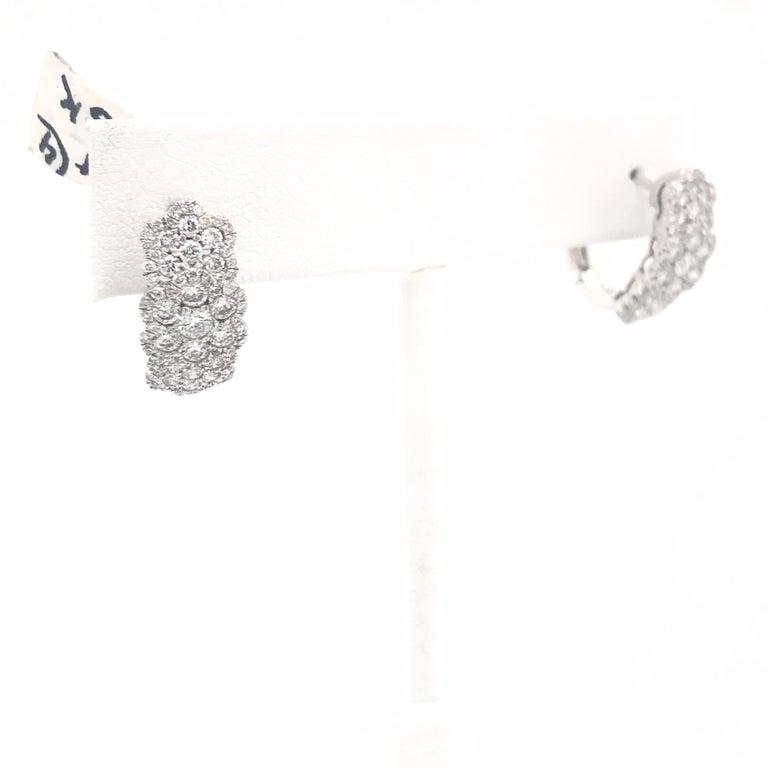 Round Cut Triple Row Diamond Hoop Earrings 2.35 Carat 18 Karat White Gold For Sale