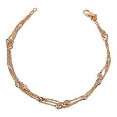 Triple-Row Diamond Station Bracelet Rose Gold