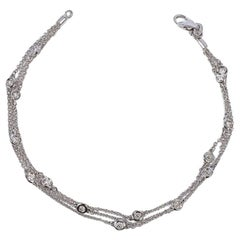 Triple-Row Diamond Stations White Gold Bracelet
