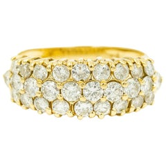 Triple Row Diamond Yellow Gold Band Ring with Three Rows of Diamonds in Front