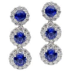 Triple Sapphire with Diamond Halo Earrings