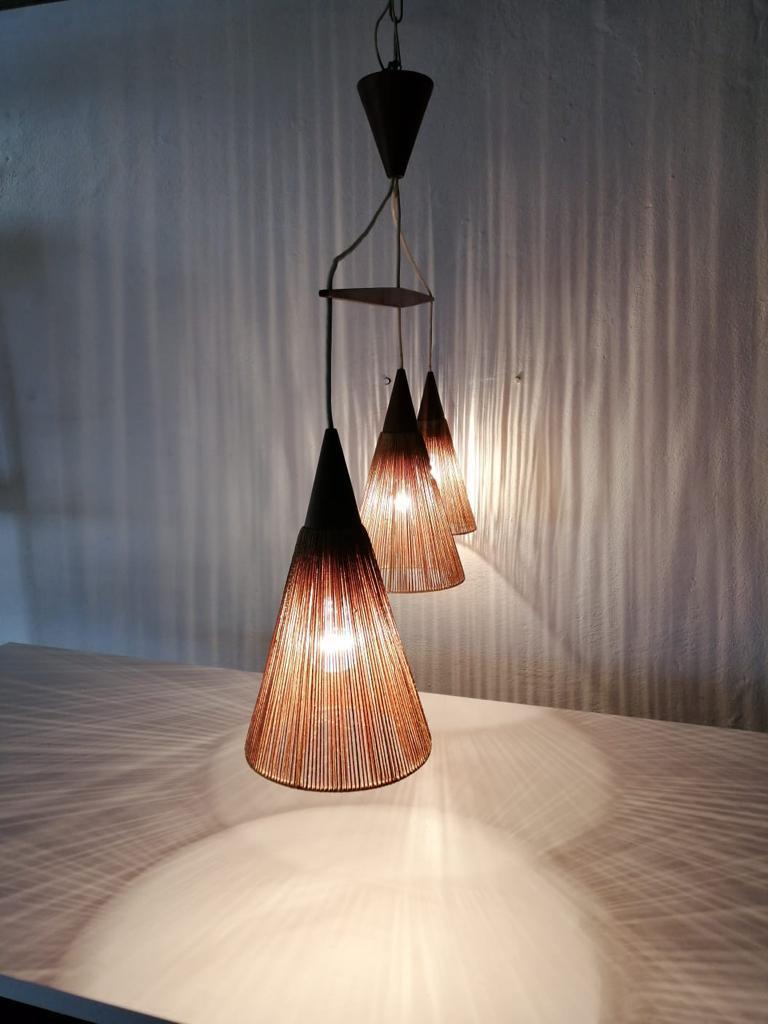 Triple Shade Ceiling Lamp by Ib Fabiansen for Fog & Mørup, 1960s, Denmark For Sale 4