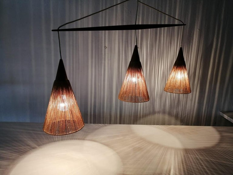 Teak and natural ropes triple shade ceiling lamp by Ib Fabiansen for Fog & Mørup, 1960s, Denmark   Scandinavian Mid-Century Modern chandelier with natural ropes or sisal strings  Lamp is in good condition and very clean.   This lamp works