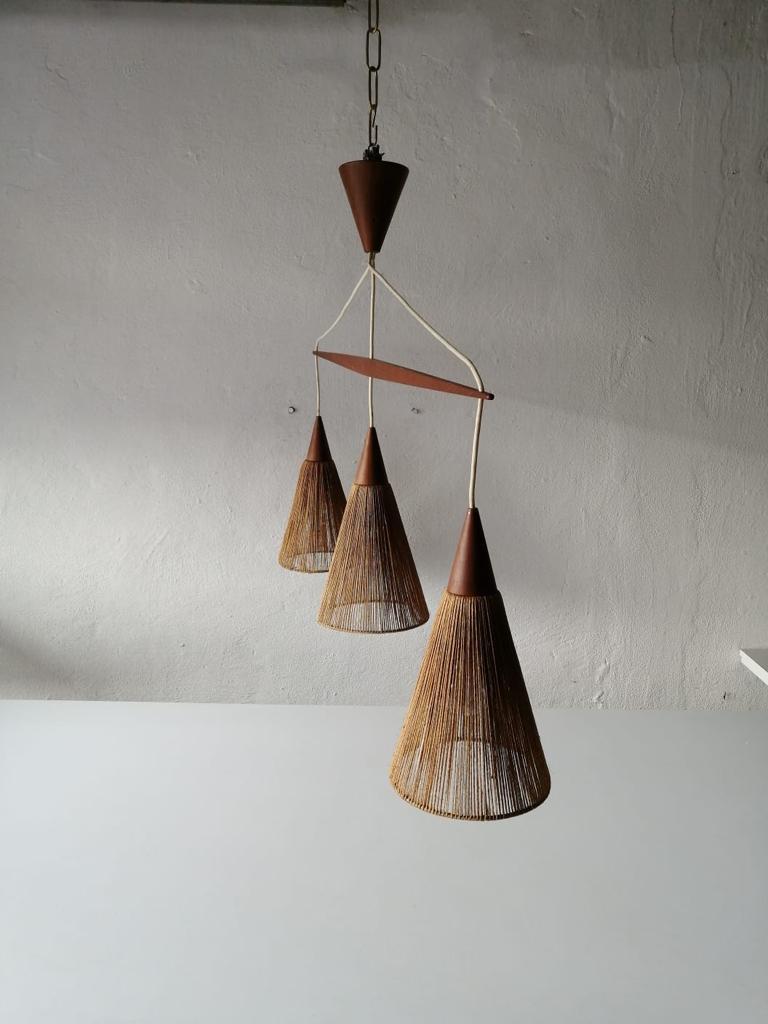 Mid-Century Modern Triple Shade Ceiling Lamp by Ib Fabiansen for Fog & Mørup, 1960s, Denmark For Sale