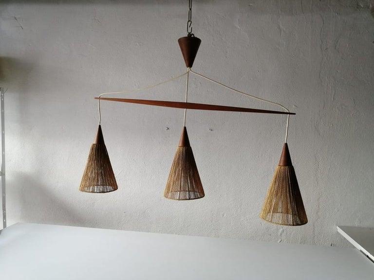 Danish Triple Shade Ceiling Lamp by Ib Fabiansen for Fog & Mørup, 1960s, Denmark For Sale