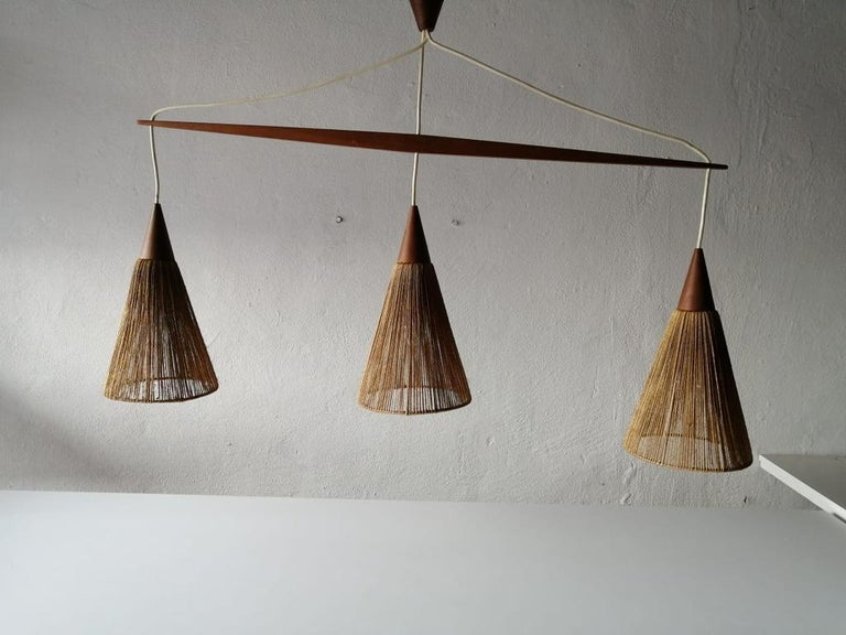Triple Shade Ceiling Lamp by Ib Fabiansen for Fog & Mørup, 1960s, Denmark In Good Condition For Sale In Hagenbach, DE