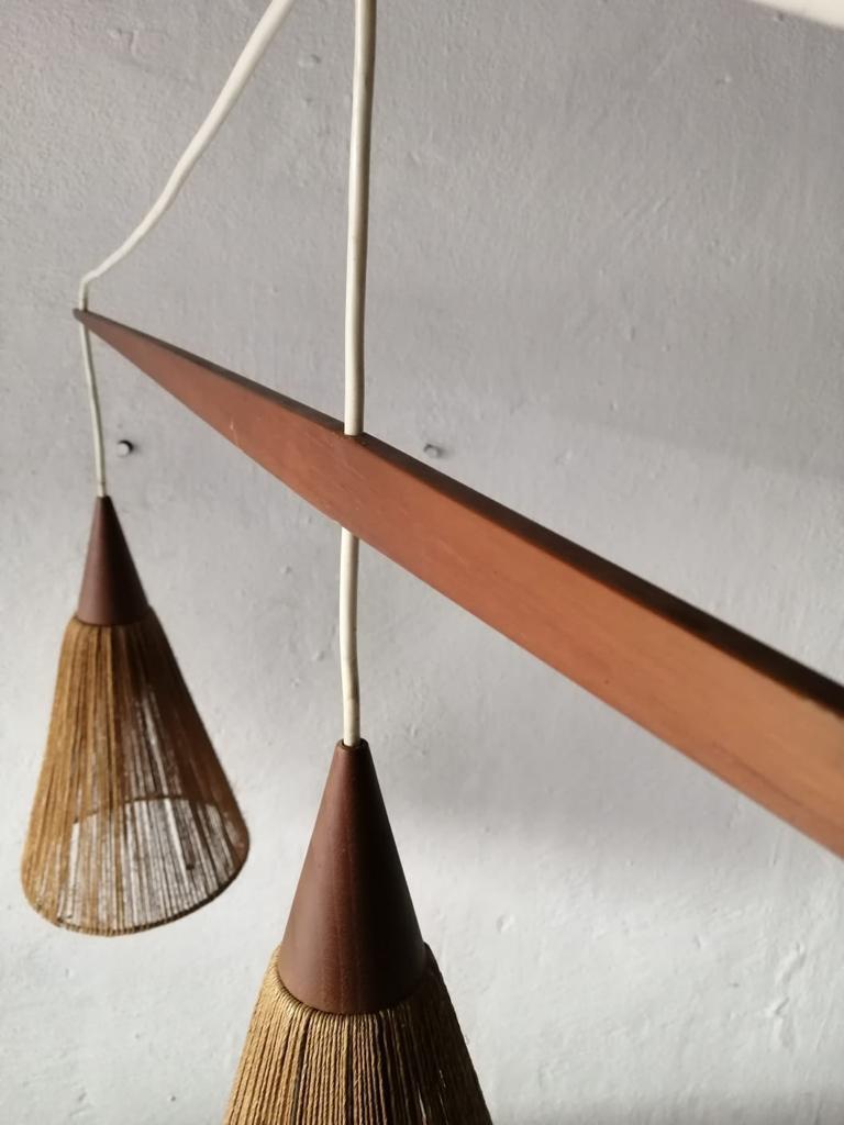 Mid-20th Century Triple Shade Ceiling Lamp by Ib Fabiansen for Fog & Mørup, 1960s, Denmark For Sale