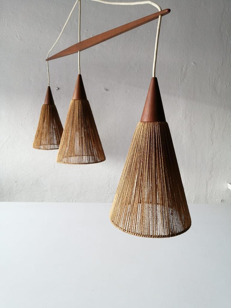 Rope Triple Shade Ceiling Lamp by Ib Fabiansen for Fog & Mørup, 1960s, Denmark For Sale