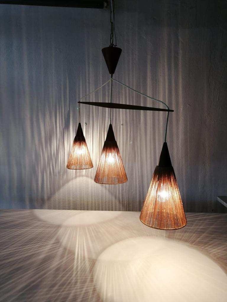 Triple Shade Ceiling Lamp by Ib Fabiansen for Fog & Mørup, 1960s, Denmark For Sale 2