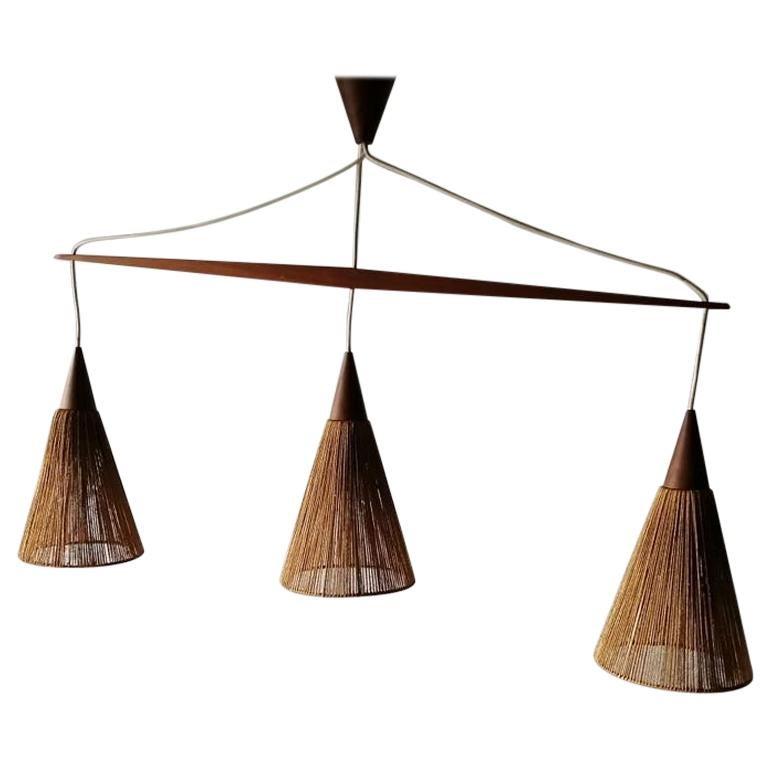 Triple Shade Ceiling Lamp by Ib Fabiansen for Fog & Mørup, 1960s, Denmark For Sale