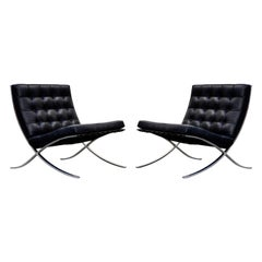 Triple Signed Knoll Associates Barcelona Chairs by Mies van der Rohe, circa 1961