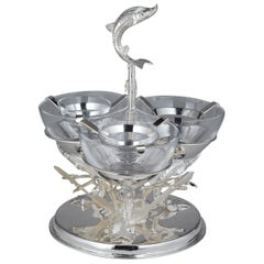 Triple Silver-Plated Caviar Server and Mother of Pearl Spoons