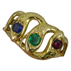 Triple Snake 18 Carat Gold Ruby Sapphire Emerald Set Ring
