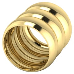 Triple Stacked 22 Karat Gold Ring by Romae Jewelry Inspired by an Ancient Design