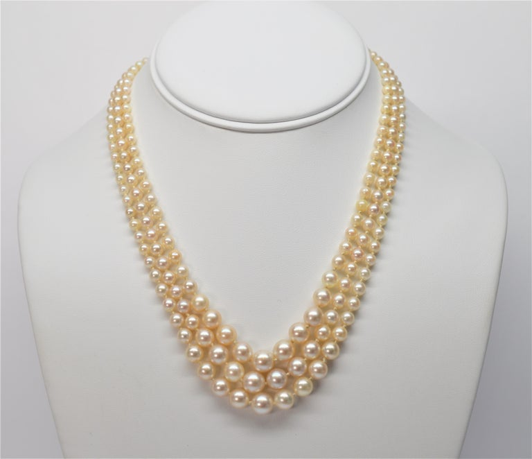 76ec0255ecd8b Triple Strand Akoya Pearl Necklace with 14K Yellow Gold & Opal Clasp