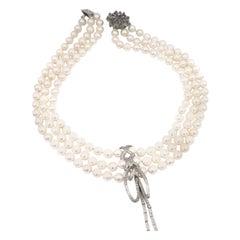 Triple-Strand Akoya Pearl Necklace with Detachable Diamond Pavé Ribbon