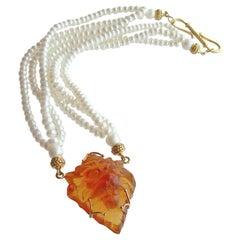 Triple Strand Button Pearls Venetian Glass Lion Head, Larize II Necklace