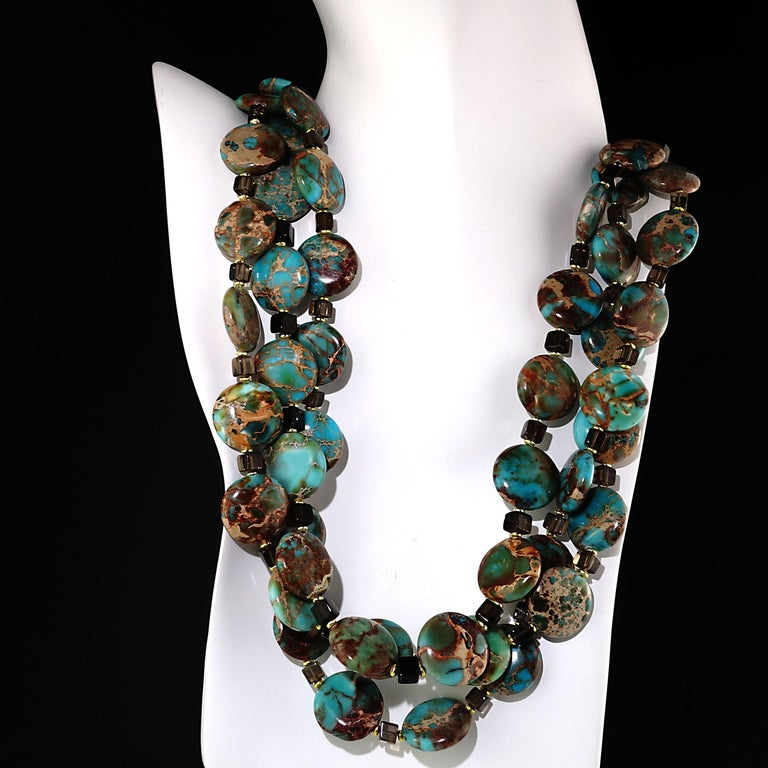 Set Desert Jasper and Floating Crystal Triple Strand Necklace with earrings