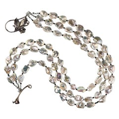 Gemjunky Triple-Strand Gorgeous, Luscious Silver Pearl Necklace