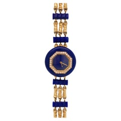 Triple Strand Hammered Gold, Lapis and Diamond Bracelet-Watch, Boucheron, Paris