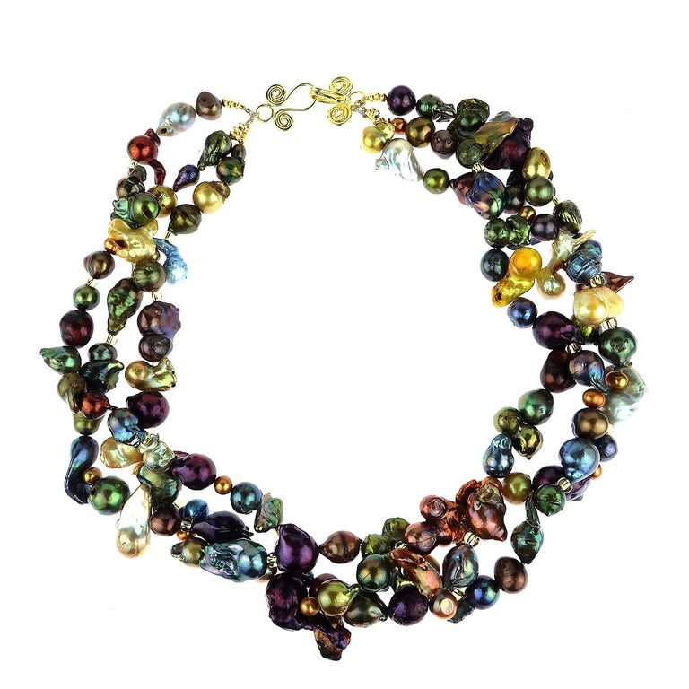 Women's Triple Strand Multi-Color  Pearl Necklace For Sale