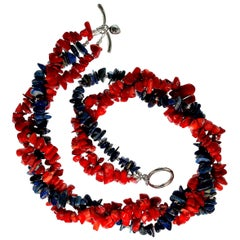 Gemjunky Triple Strand Necklace of Southwest Red Coral and Lapis Lazuli