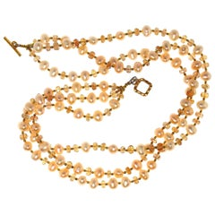 Gemjunky Triple-Strand Orange Imperial Topaz and Peach Pearl Necklace