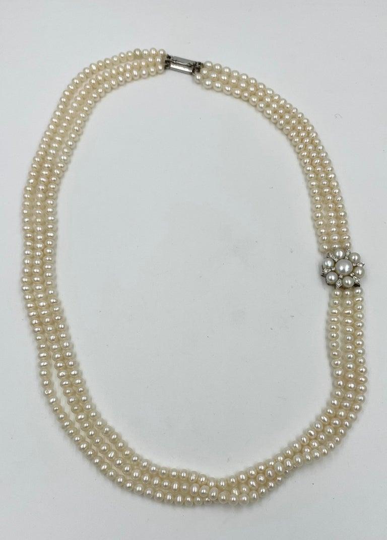 Retro Triple-Strand Pearl Diamond Necklace 14 Karat White Gold For Sale