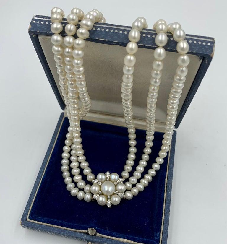 Round Cut Triple-Strand Pearl Diamond Necklace 14 Karat White Gold For Sale
