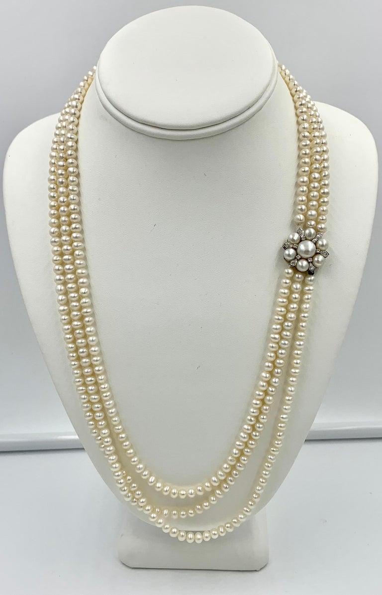 Women's Triple-Strand Pearl Diamond Necklace 14 Karat White Gold For Sale