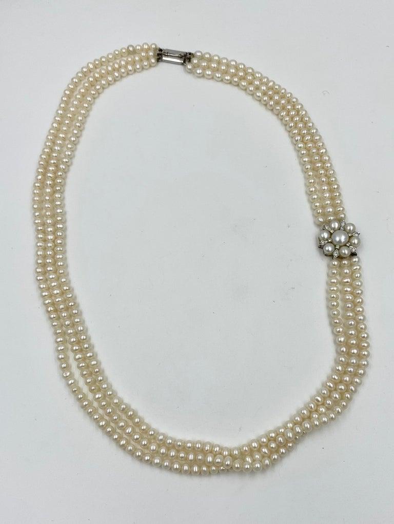 Triple-Strand Pearl Diamond Necklace 14 Karat White Gold For Sale 1