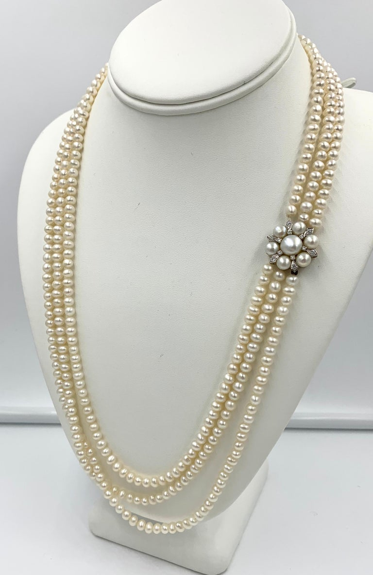 Triple-Strand Pearl Diamond Necklace 14 Karat White Gold For Sale 2